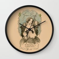 jane eyre Wall Clocks featuring Jane Eyre by Charlotte Bronte by BA Jennings