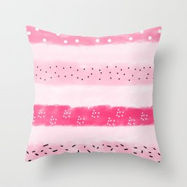 Cute pink hand drawn pattern Throw Pillow