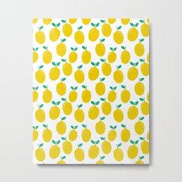 Lemons - Tropical citrus summer fresh modern pattern bright garden vegetables vegan Metal Print