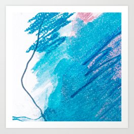 Abstract pink pastel navy blue teal watercolor brushstrokes Art Print