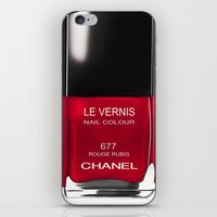 nail polish iPhone & iPod Skins featuring Nail Polish Rouge Rubis by BeckiBoos