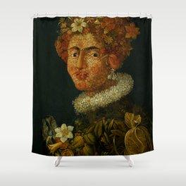 "Follower of Giuseppe Arcimboldo ""Anthropomorphic allegory of spring"" Shower Curtain"