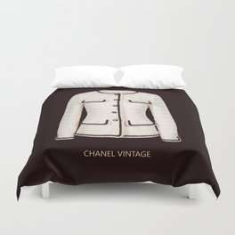 coco vintage black and white jacket Duvet Cover