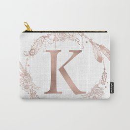Letter K Rose Gold Pink Initial Monogram Carry-All Pouch