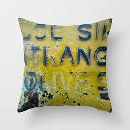 Entrance On Olive Street Throw Pillow