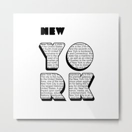 New York in writing Metal Print