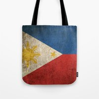 philippines Tote Bags featuring Old and Worn Distressed Vintage Flag of Philippines by Jeff Bartels