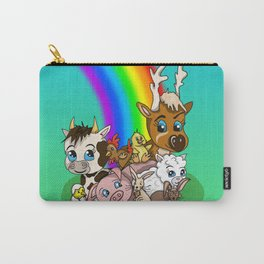 Sanctuary farm animals with a rainbow of hope  Carry-All Pouch