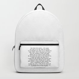 Life quote, For what it's worth, F. Scott Fitzgerald Quote Backpack