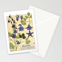 Maurice Verneuil - Ancolie - botanical poster Stationery Cards