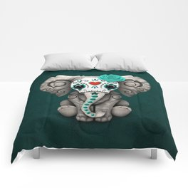 Teal Blue Day of the Dead Sugar Skull Baby Elephant Comforters
