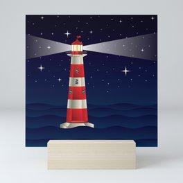Cartoon landscape with lighthouse night sea and starry sky Mini Art Print