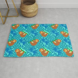 Cute lazy funny happy baby sloths on a tree, tropical exotic monstera philodendron leaves pattern Rug