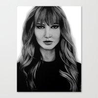 jennifer lawrence Canvas Prints featuring Jennifer Lawrence by Lydia Dick