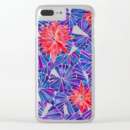 Water Lilies – Indigo & Red Palette Clear iPhone Case