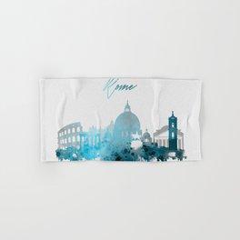 Rome Italy Monochrome Blue Skyline Hand & Bath Towel