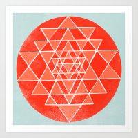 chakra Art Prints featuring Sri Chakra  by Garima Dhawan