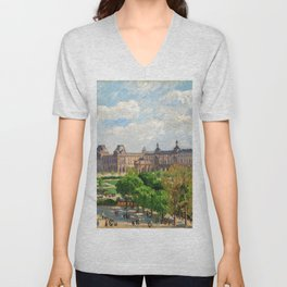 Camille Pissarro - Place Du Carrousel, Paris - Digital Remastered Edition Unisex V-Neck