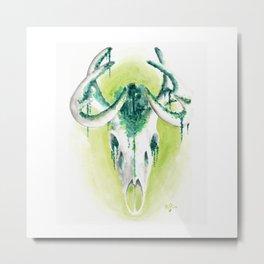 Deer skull forest - watercolor painting Metal Print