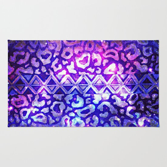 TRIBAL LEOPARD GALAXY Animal Print Aztec Native Pattern Geometric Purple Blue Ombre Space Galactic Rug