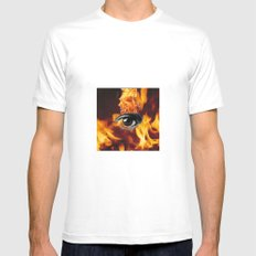Fire MEDIUM White Mens Fitted Tee