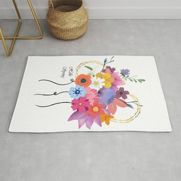 Hello Spring Bunch of Flowers Rug