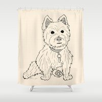 westie Shower Curtains featuring Westie Sketch by Circus Dog Industries