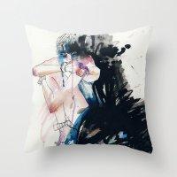 fear Throw Pillows featuring Fear by Holly Sharpe