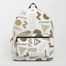 Retro abstract geometrical faux gold white 80'spattern Backpack