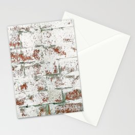 White Washed brick wall - distressed brick  Stationery Cards