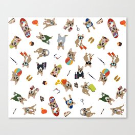 Frenchie's luxury life pattern Canvas Print