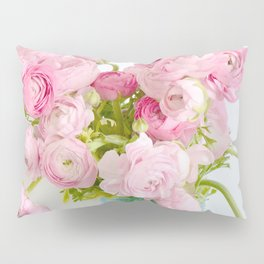Dreamy Shabby Chic Ranunculus Peonies Roses Print - Spring Summer Garden Flowers Mason Jar Pillow Sham