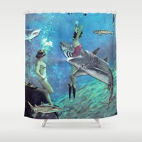 sharks Shower Curtains featuring Sharks by Ben Giles