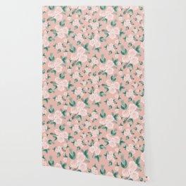 Watercolor Roses in Soft Pink Wallpaper