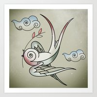 sparrow Art Prints featuring Sparrow by Vin Zzep