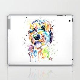 Goldendoodle, Golden Doodle Watercolor Pet Portrait Painting Laptop & iPad Skin