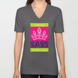 Colorful I Bring Sass to the Class Back to School Unisex V-Neck
