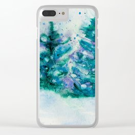 Holidaze Winter Trees w SnowFlakes watercolor by CheyAnne Sexton Clear iPhone Case