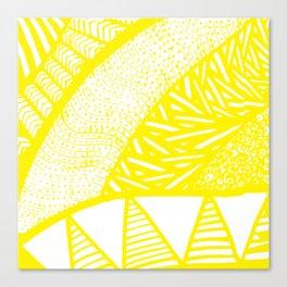 Free Hand Zesty Lemon Doodle Design Canvas Print