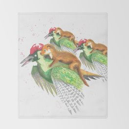 Weasel Riding Woodpecker Gang Throw Blanket