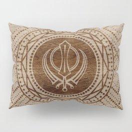 Khanda symbol on wooden texture Pillow Sham