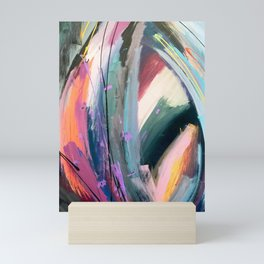 Eye of the Beholder [4]: a colorful, vibrant abstract in purples, blues, orange, pink, and gold Mini Art Print