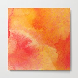 Orange watercolor paint vector background Metal Print