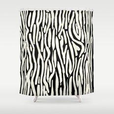 Zebra Stripes Tribal Black and Cream Shower Curtain