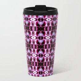 Purple White Flower Pattern Travel Mug