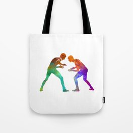 Wrestlers wrestling men 01 in watercolor Tote Bag