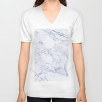 white marble V-neck T-shirts featuring White Marble by SueM