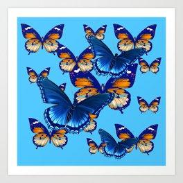 MODERN ART DECORATIVE BLUE-BROWN  BUTTERFLIES Art Print