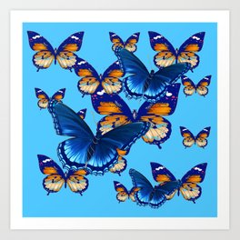 MODERN ART DECORATIVE BLUE-BROWN  BUTTERFLIES Art Print