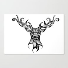 Henna Inspired Stag Head by Ashley-Rose Standish Canvas Print